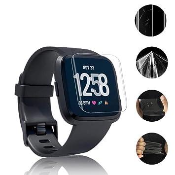 Protector de pantalla para reloj inteligente Fitbit Versa, VNEIRW 9H a prueba de explosiones LCD