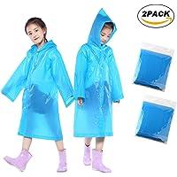 NorthPada Bambini Pioggia Poncho Portatile Riutilizzabile Impermeabile Usura Pioggia con Cappuccio e Maniche Materiale EVA per Bambini la Scuola di Sport all'aperto 2 Pacchi Blu