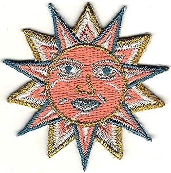 Small Gold Blue Peach Pagan Astrology Sun Face Embroidery  Patch