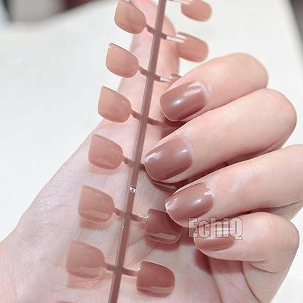 Candy Coffee - Clavos cortos para uñas pequeñas, brillantes, redondos, tamaño falso,