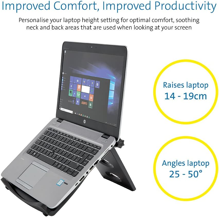 for Windows /& Mac devices such as Dell,Toshiba,HP,Samsung Kensington Easy Riser Portable Ergonomic Laptop Cooling Stand 12-17 K52788WW Black MacBook,Lenovo with Secure Fit and SmartFit System