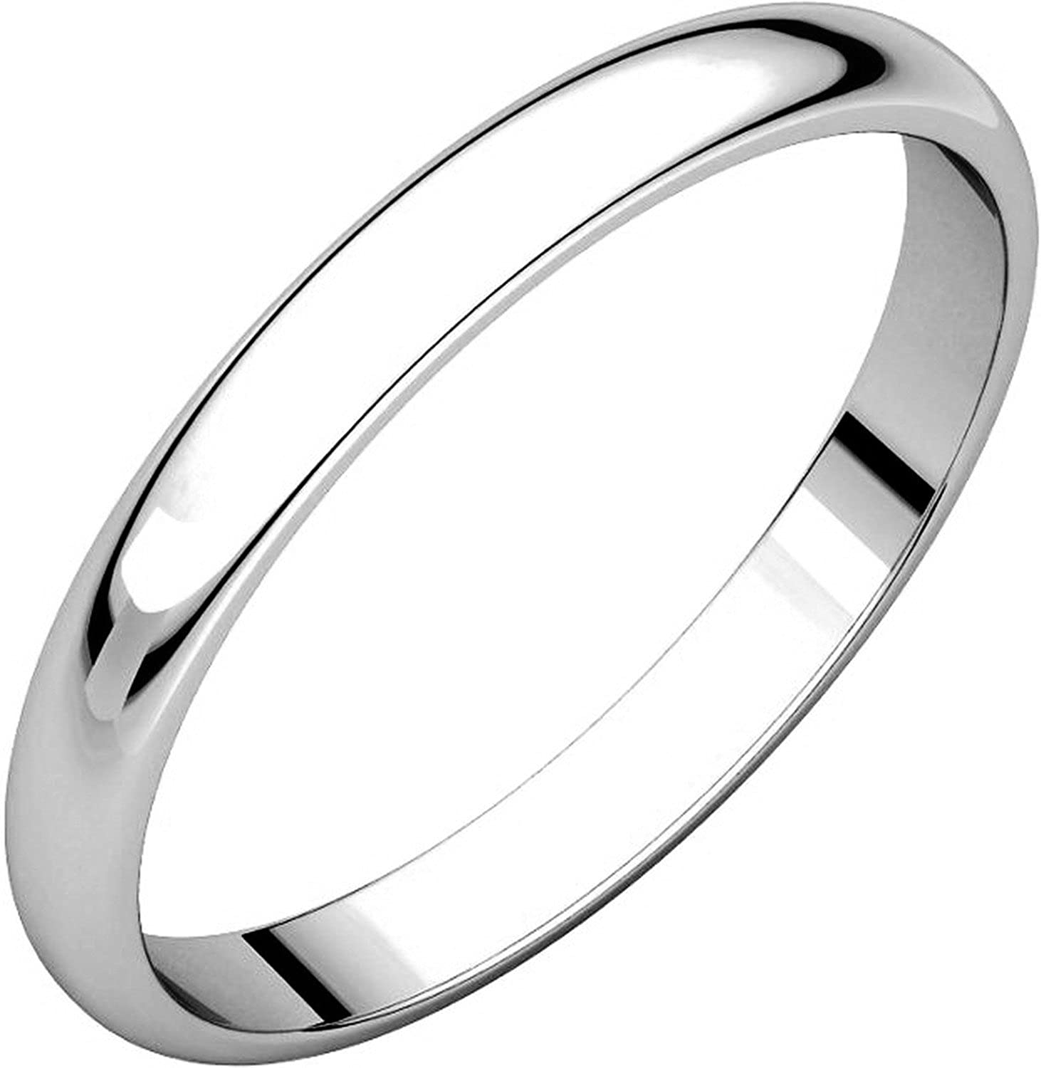 Plain Wedding Band 2.5mm Wide Mens and Womens 18k White Gold