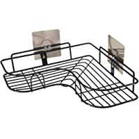 ZIZLY Home Essentials Magic Sticker Series Self-Adhesive Metal Bathroom Corner Shower Caddy, Stainless Steel Bathroom Corner Shelf Organizer Storage Hanging Shower Caddy Rack - Black