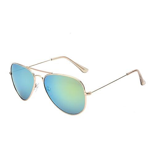 328202a728 JM Gafas de Sol Retro de Espejo Aviador Lentes Teñido Brillantes Anteojos  para Mujer Hombre UV400