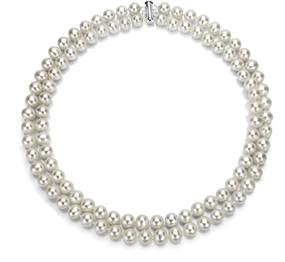 17'' Sterling Silver Pearl Necklace With 2 Rows White Freshwater Cultured High Luster Pearl Jewelry Gift In A Box For Women