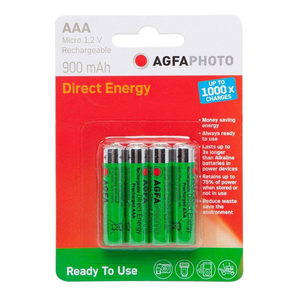 AgfaPhoto Rechargeable AAA 1.2V Batteries 4 Pack One Size