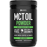 MCT Oil Powder from Non-GMO Coconuts (Zero Net Carbs) | A Keto Friendly, Fat & Fiber Source for Sustained Energy, Appetite Control & Gut Health | Mixes in Coffee, Smoothies & More!