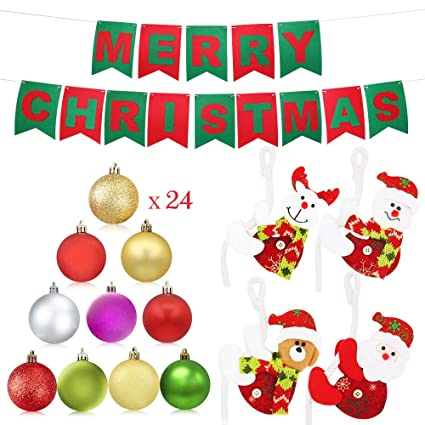 Amazon.com: XiaZ Christmas Banner 24 Pcs Tree Balls Ornaments Bulk 4 ...