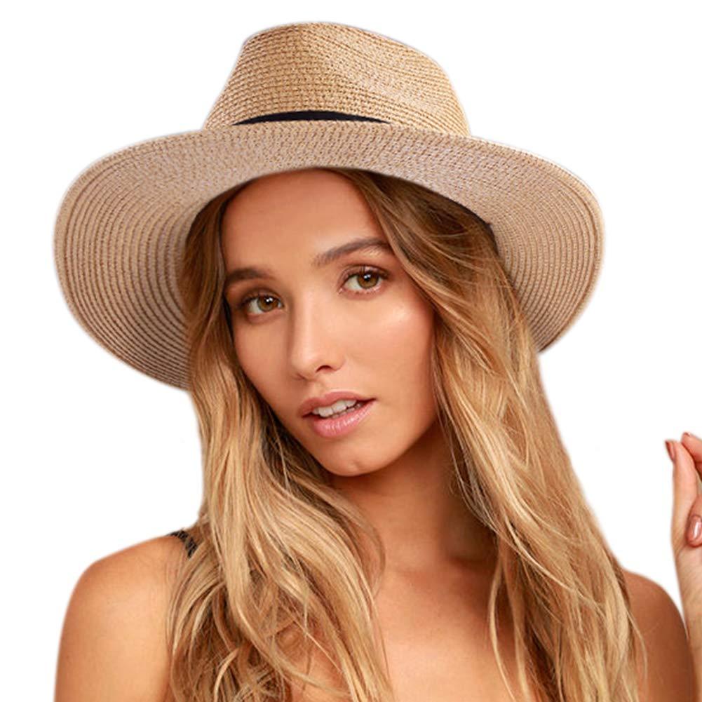 Womens Wide Brim Straw Panama Hat Fedora Summer Beach Sun Hat UPF50 (Dark Khaki, L)