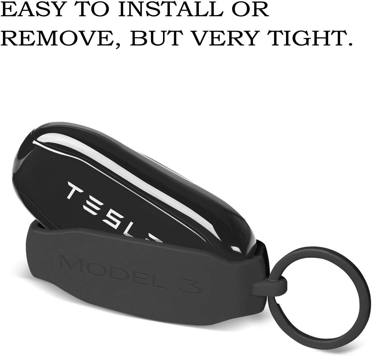Llavero de Silicona Llavero Llavero Protector Soporte de La Funda con Llavero Cadena para Tesla Modelo 3 Accesorios OLAIKE Llavero Tapa Fob para Tesla Modelo 3 Rojo, Model 3