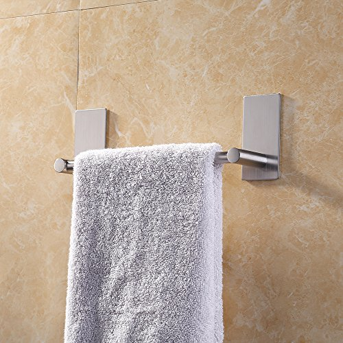 Suction Shower Bar (KES 3M Self Adhesive Towel Bar 9-Inch Small Bathroom Kitchen Hand Towel Hanger Sticky Stick on Shower Bar Brushed SUS 304 Stainless Steel, A7000S9-2)