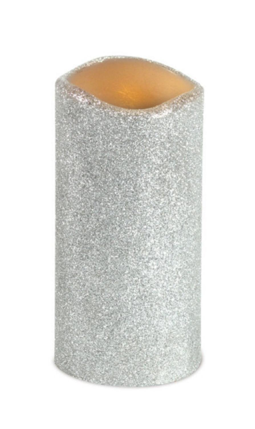 6 Battery Operated Silver Glitter Flameless LED Christmas Pillar Candles 6'' by CC Christmas Decor