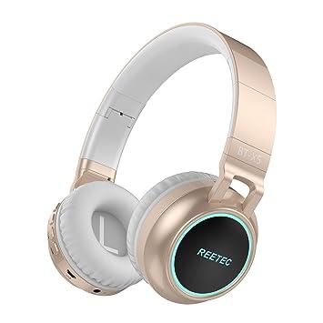 Reetec V4.0 - Auriculares inalámbricos con micrófono y Control de Volumen (LED, luz Plegable, estéreo): Amazon.es: Electrónica