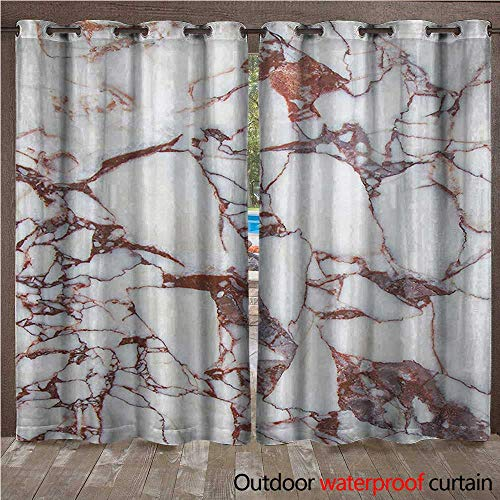 Marble Outdoor Door Curtain Dolomite Rocks Pattern with Characteristic Swirls and Cracked Lines Abstract ArtW120 x L96 Beige Brown ()