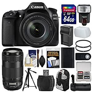 Canon EOS 80D Wi-Fi Digital SLR Camera & EF-S 18-135mm IS USM + 70-300mm IS II Lens + 64GB Card + Case + Flash + Battery & Charger + Grip + Tripod Kit