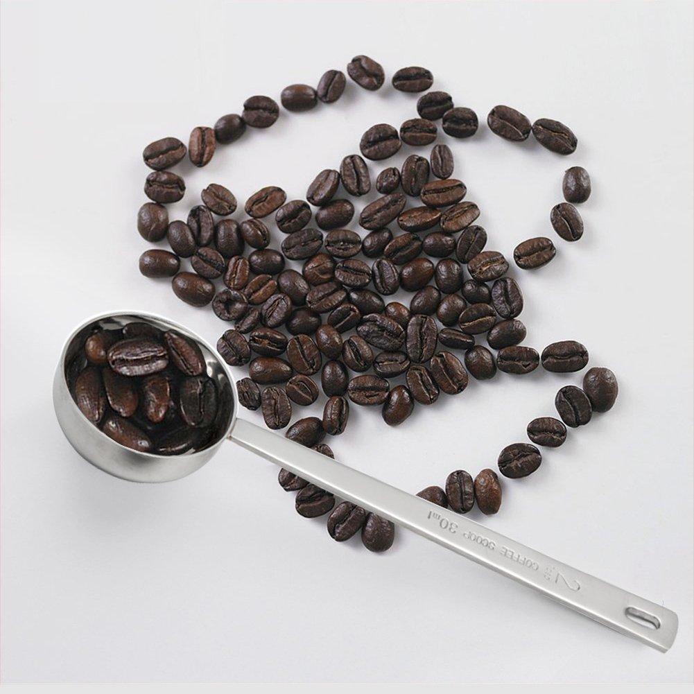 2 30ml Coffee Scoop,Endurance Metal 304 Stainless Steel 2 Tablespoon Measuring Coffee Scoop Spoon Set of 2 Stainless Steel