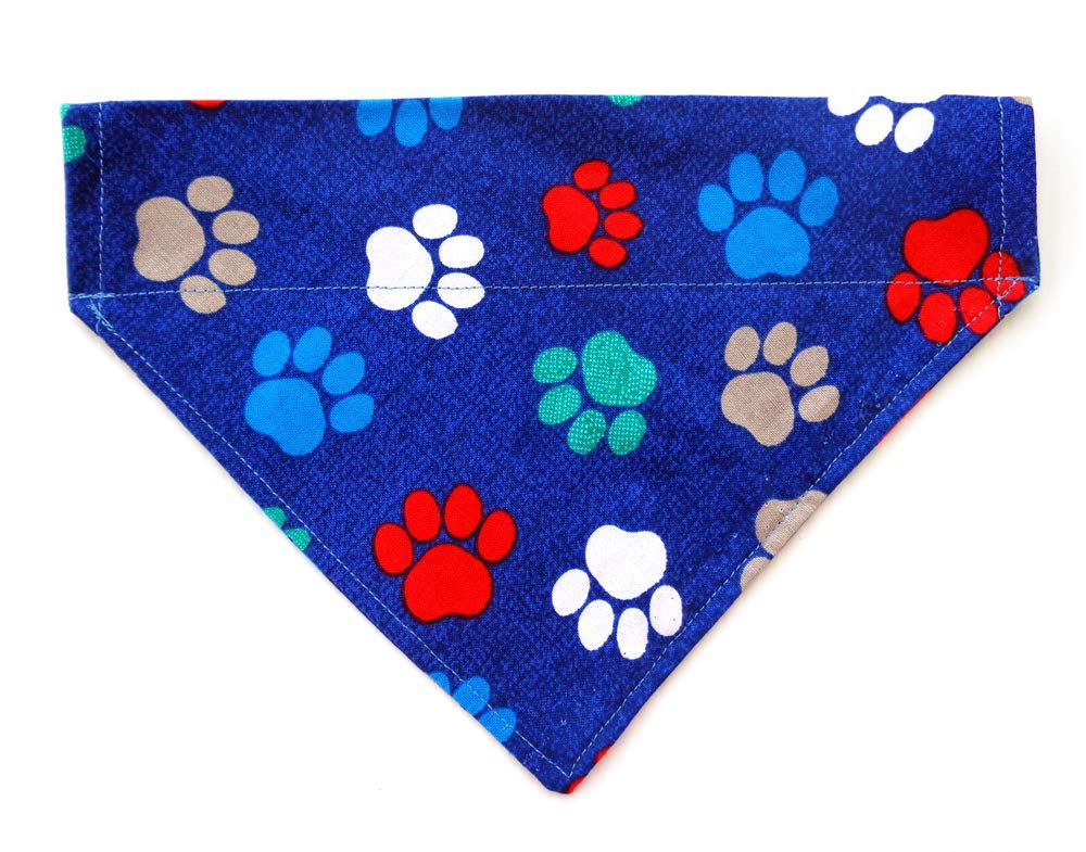 Paws Prints Slip On Thread Thru Over the Collar Reversible No-Tie Dog Bandana, Petwear and Doggie Bib Accessories