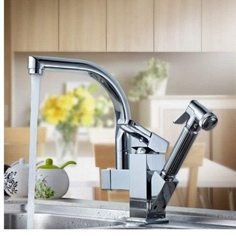 Jackeylove Küchenspüle Wasserhahn Kupfer Chrom-Schale Becken Heiß Und Kaltes Wasser Wasserhahn Multifunktionszug Küchenhahn