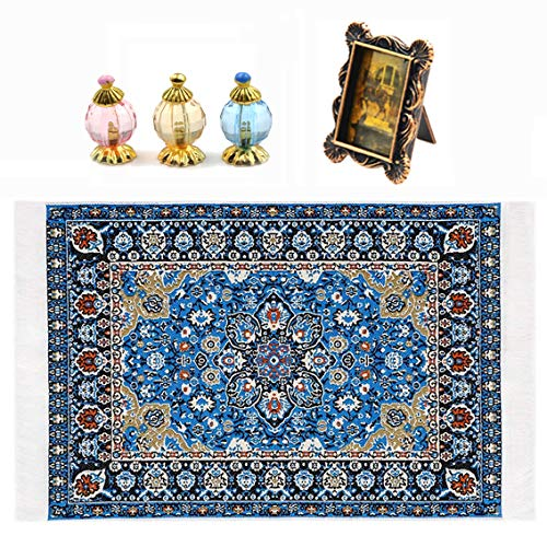 Dengguoli 1:12 Doll House Rug Starry Night Floral Print Vintage Woven Carpet Mini Retro Photo Frame Dollhouse Miniature Perfume