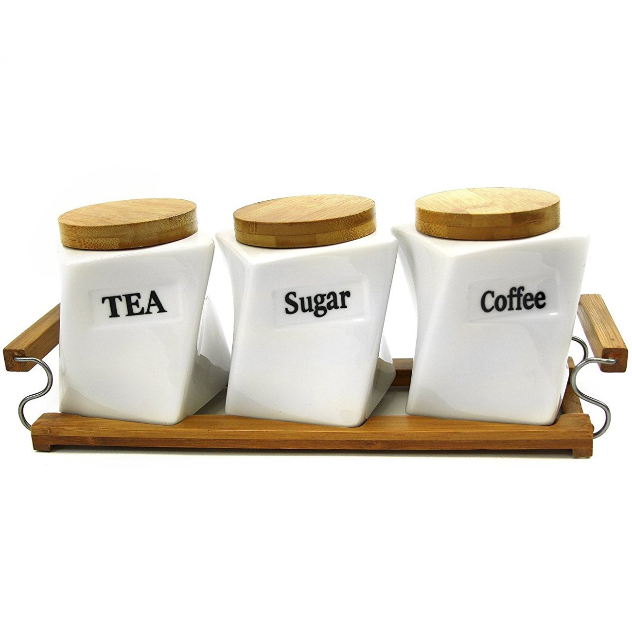 SET OF 3 CANISTERS COFFEE TEA SUGAR BAMBOO HOLDER KITCHEN STORAGE JAR CONTAINER OOTB