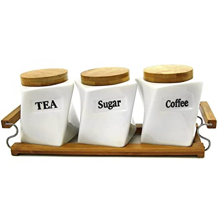 Set of 3 canisters coffee tea sugar bamboo holder kitchen storage jar container