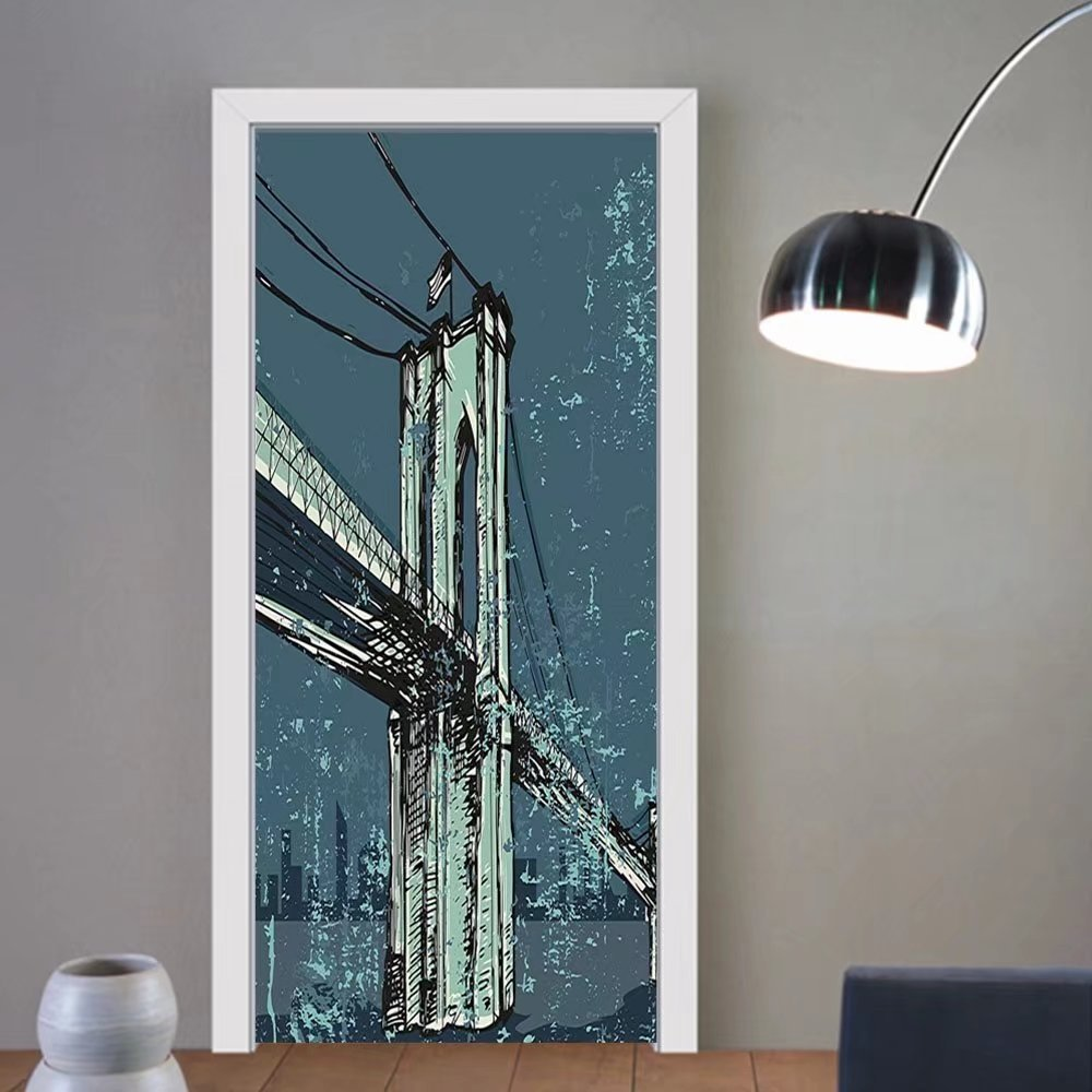 Gzhihine custom made 3d door stickers Urban Hand Drawn Brooklyn Bridge Sketch Grunge New York City American USA Artwork Petrol Green Mint For Room Decor 30x79