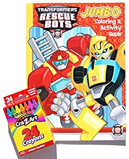 transformers rescue bots jumbo coloring and activity book with a box of crayons - Transformers Coloring Book