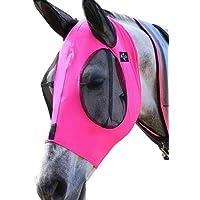 Gaosheng - Máscara antimoscas para caballos con orificios para las orejas de licra y malla, extracómoda y con ajuste…
