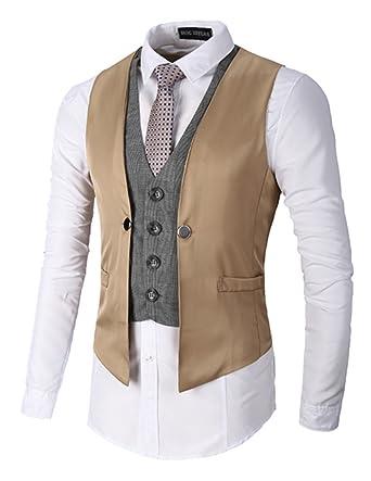 9111a045d842 Boom Fashion Slim fit Plaid Gilet Veston Veste Costume sans Manches Homme  Branché(Chemise Non