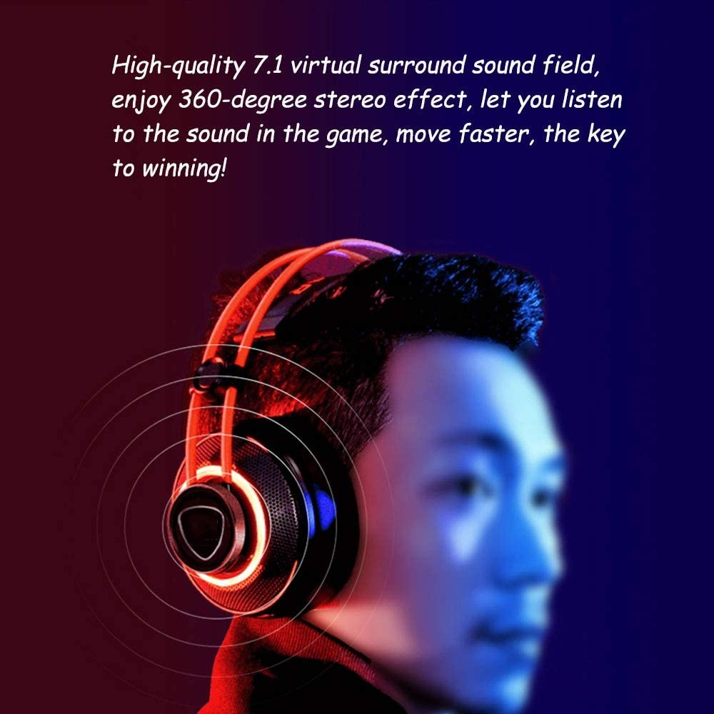 MQQ 7.1 Headset Subwoofer Desktop Gaming Headset Microphone and Volume Control Lightweight Noise Cancelling Headphone 3.5m Phone Plug for PC Gaming
