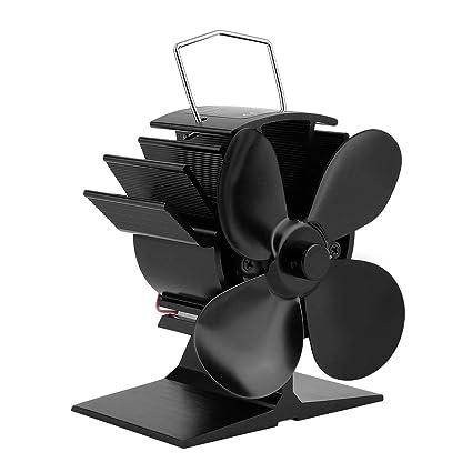 Ventilador de estufa, 4 cuchillas Calentador de estufa Ventilador de leña Quemador de leña Ecofan