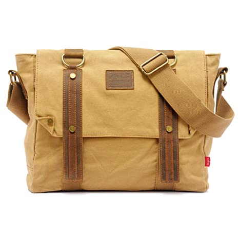 3e6bc55e20f5 Canvas Messenger Bag 14inch Laptop Bag Vintage Bookbag for School Crossbody  Satchel Messenger Bag(Khaki)
