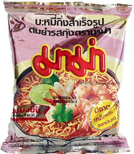Mama Tom Yum Kung Thai Instant Noodle Shrimp Tom Yum Flavour Soup 55g. (12 packs)