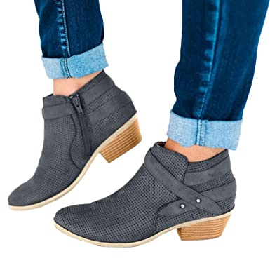 Viernes Negro JiaMeng Botines Zapatos Planos Caminar cómodo Zapatos de Ocio Hebilla Puntiaguda Retro Correa de tacón Cuadrado Zapatos Individuales: ...