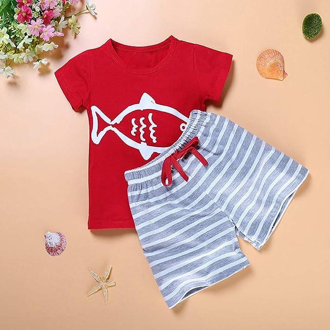 Kleinkind Baby Jungen Outfits Cartoon Print Langarm Top mit l/ässigen gestreiften Hosen Kleidungssets 2 St/ück