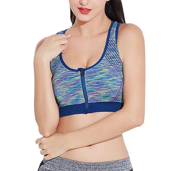 Libella Mujer Sujetador Deportivo Push Up Bustier Con Amplio Correas Fitness Yoga Camisetas Sin Mangas Frontal Cremallera3762: Amazon.es: Ropa y accesorios