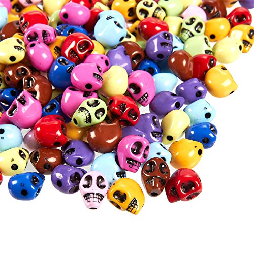 Skull Beads - 500-Count Jewelry Making Beads for Kids, Skeleton Head Beads for Craft, Bracelet, Necklace, Halloween Party, Multicolored, 0.4 x 0.5 x 0.4 Inches