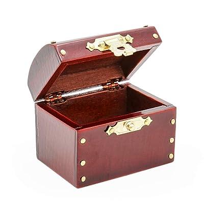Odoria 1:12 Miniature Vintage Wooden Brown Treasure Chest Dollhouse Decoration Accessories: Toys & Games
