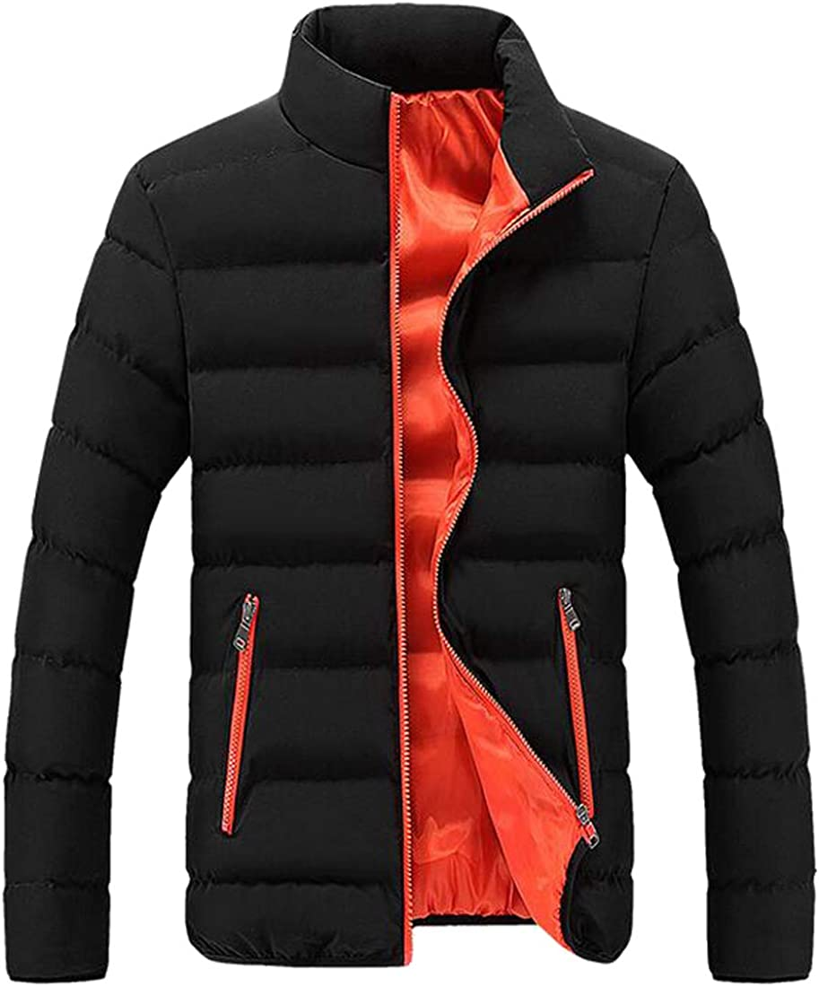 XiaoTianXinMen XTX Mens Stand Collar Winter Slim Fit Color Block Down Quilted Coat Jacket Outwear 4 S