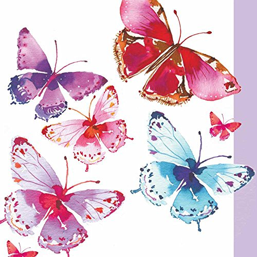 Paperproducts Design 1251924 Beverage/Cocktail Aquarelle Butterfly Paper Napkins (20 Pack), (Butterfly Beverage Napkins)