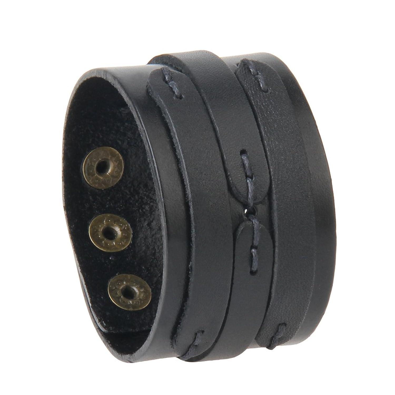 Jenia Unisex Adjustable Genuine Leather Bracelet Wide Brown Belt Cuff