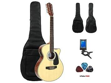 Fiebre acústica de 12 cuerdas para guitarra eléctrica (con funda, afinador y púas, Natural: Amazon.es: Instrumentos musicales