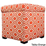 The Sole Secret Mini Shoe Storage Ottoman, 18.5 x 19 x 19 inches, Nicole Series in Tabby Orange