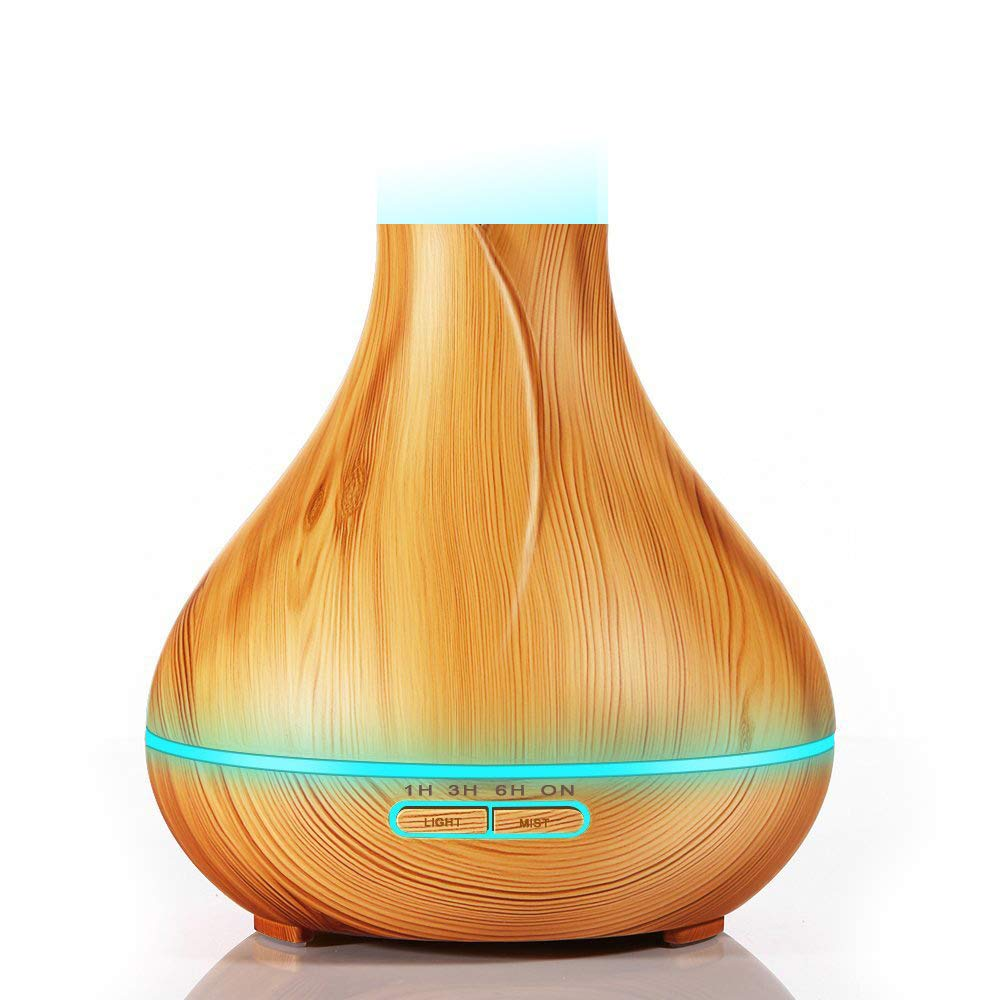 Vaporizador humidificador difusor de aceite esencial 300 ml Usb Grano de madera Ultras/ónico Bruma fresca Purificador de aire Sin agua Apagador autom/ático Evaporizador para oficina Hogar Yoga,Brown