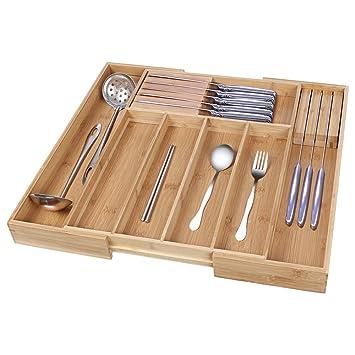 Bamboo Kitchen Drawer Organizer Expandable Silverware Organizer
