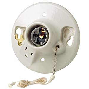 Leviton 9726-C2 One-Piece Glazed Porcelain Outlet Box Mount Incandescent Lampholder, Pull Chain, Top Wired, White