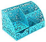 EasyPAG Office Desk Organizer Accessories Caddy with 6 Compartments and Drawer,Dark Teal