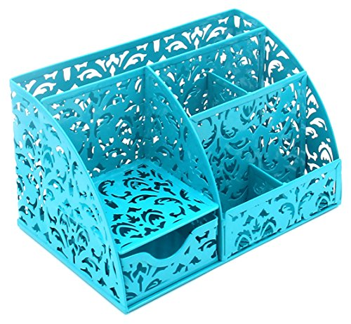 EasyPAG Office Desk Organizer Accessories Caddy with 6 Compartments and Drawer ,Dark Teal (Turquoise Office Supplies)
