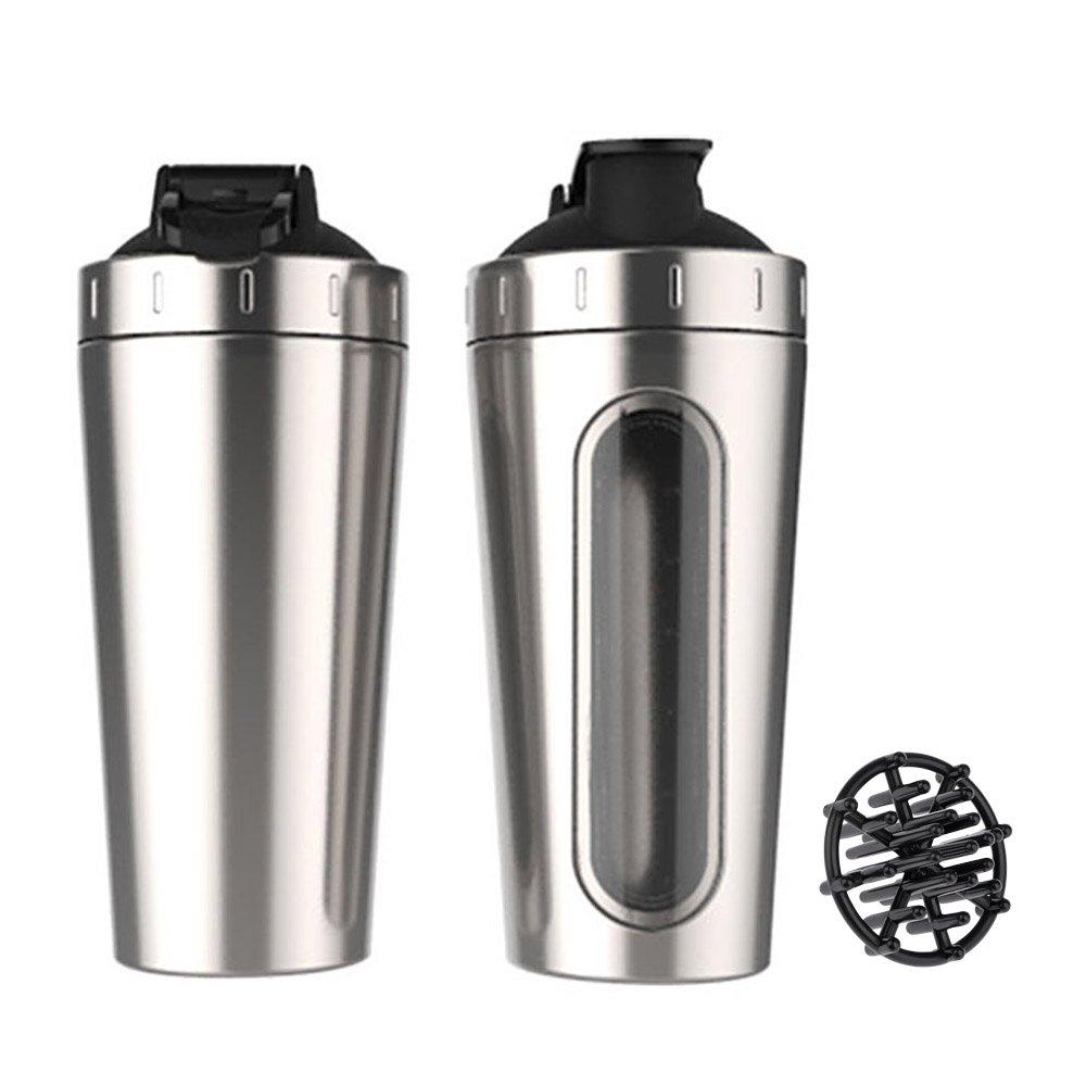 VANKER Stainless Steel Sport Water Bottle Protein Milkshake Shaker Cup Mixer Visible Window, Leak Proof, Large Portable 28oz-Silver