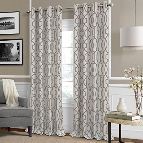 Celeste Modern Lattice Ironwork Print Blackout Room Darkening and Thermal Insulating Window Curtain / Single Lined Panel, 52 Inch Wide X 84 Inch Long, Taupe